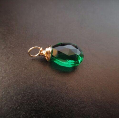 1 Emerald Quartz Gemstone Wire Wrapped Interchangeable Drop