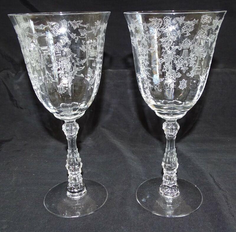 "Fostoria USA Navarre 2 Water Goblets 7 5/8"" Etched"