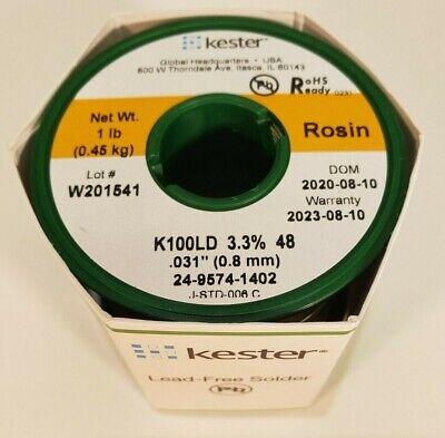 Kester 24-9574-1402 Wire Solder K100ld 0.031inch 0.80mm Diameter 1lb Spool