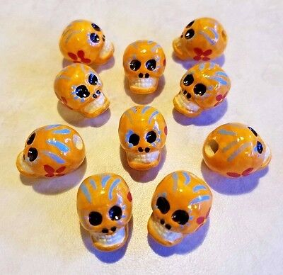 Peruvian Ceramic Orange Skull Day of the Dead Beads Lot of 10 Halloween