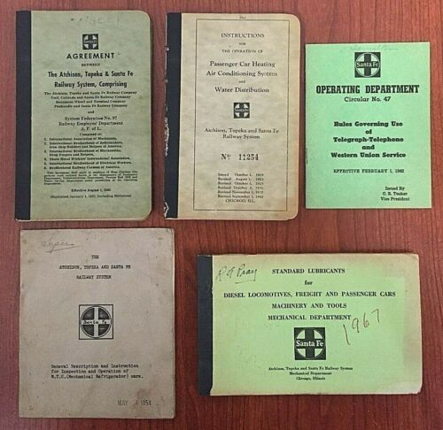 Santa Fe Railway Booklets Instructions Agreement Circular Lot of 5