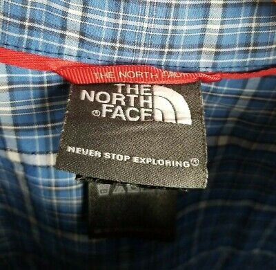 The North Face Men's XL Button Front  Blue Plaid Short Sleeve Shirt