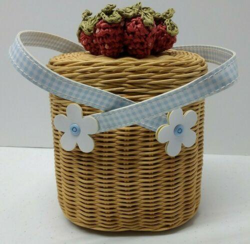 Vintage Gymboree Strawberry Patch purse basket 2003 blue white red wicker