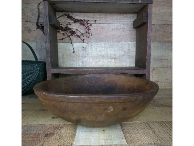 Huge Antique Wooden Dough Bowl with Rim Band Primitive