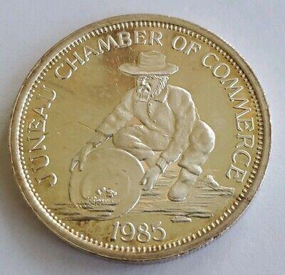 Alaska State Coin - 85 Juneau Alaska State Capital Prospector 1 Troy Oz .999 Fine Silver Round Coin