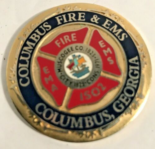 2 Sided Medallion 1971 Georgia, Columbus Fire & EMS and The Spirit of 911