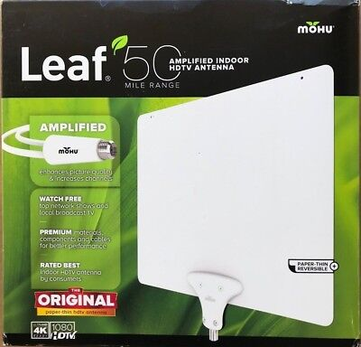 NEW Mohu Leaf 50 TV Antenna Indoor Amplified 50 Mile - 4K HDTV Ready - White