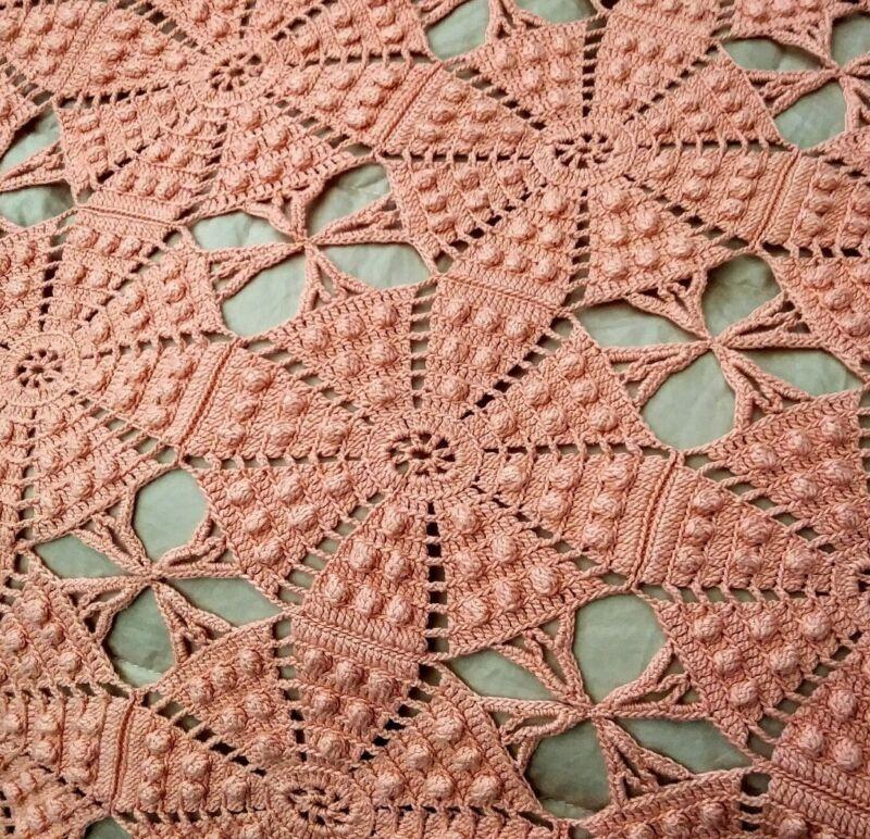 "Gorgeous Coral Pink Heavy Irish Crochet Lace Bedspread w/Raised Popcorn  95""x84"""