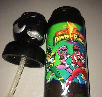 Vintage 1994 Power Rangers Plastic Bottle Cup w/Black Head Lid Mask Figure Rare (Power Ranger Cups)