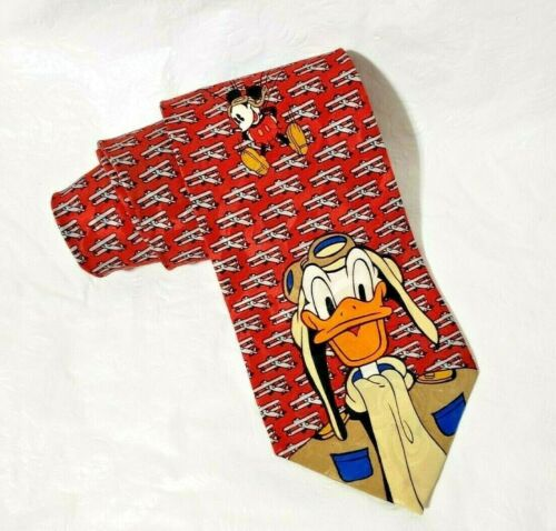 Mickey Unlimited Neck Tie Donald Duck Mickey Mouse Pilot Airplane Necktie VTG 90