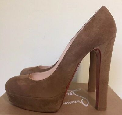 AUTHENTIC CHRISTIAN LOUBOUTIN BIBI CAMEL BEIGE TAN BROWN PLATFORM PUMP HEEL/41