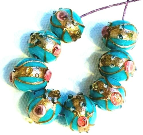 Turquoise Wedding Cake Beads glass 11mm