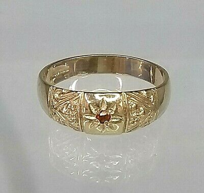 9ct Gold Antique Style Ruby Ring (real gold)