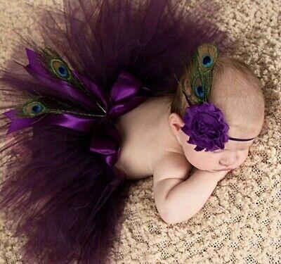 Baby Fotografie Kostüm Tütü Tüll Schleife Pfau Feder Stirnband Blume