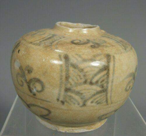 Thai Sukhothai Sawankhalok Blue & White Decoration Pottery Jarlet 13-14th c.