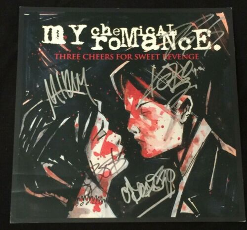 MY CHEMICAL ROMANCE SIGNED PROMO POSTER AUTOGRAPH GERARD MIKEY WAY FRANKIE IERO