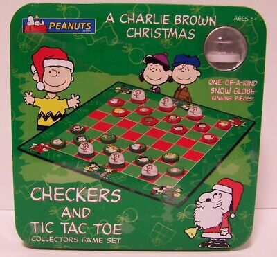 Snoopy Checkers Tic Tac Toe Game Charlie Brown Christmas Peanuts Tin Sealed