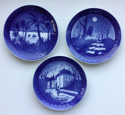 Lot of 3 Royal Copenhagen Blue Christmas Plates 1972, 1974, 1975 EUC!