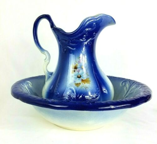 Antique R S Prussia Pitcher And Wash Bowl Basin Cobalt Blue