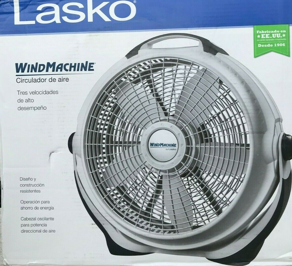 "New Lasko 3300 Powerful Wind Machine 20"" 3 Speed Gray High V"