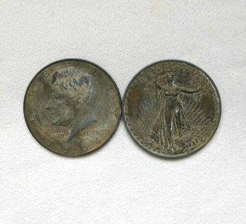 """2 Faux Coin Paperweights 3"""" Diameter - 1964 Half Dollar & 1907 $20 Liberty"""