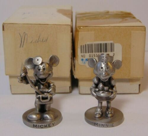 Vintage Walt Disney Fine Pewter Figures Mickey Mouse Doctor & Minnie Mouse Nurse