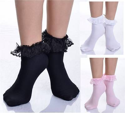 Frilly Trim (Ruffled Lace Top Ankle High Socks Nylon Frilly Trim Anklet Lolita Pin-Up Retro )