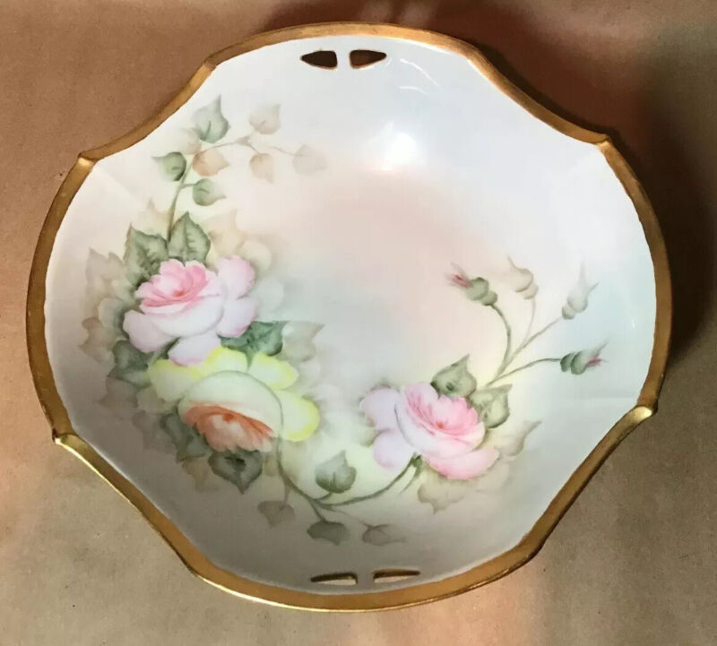 Antique Hand Painted German Bowl Pink Yellow Roses Gold Trim Artist Signed