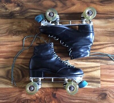 VINTAGE Leather Roller Skates - Bones Super Elite Artistic 57mm Wheels - Size 7