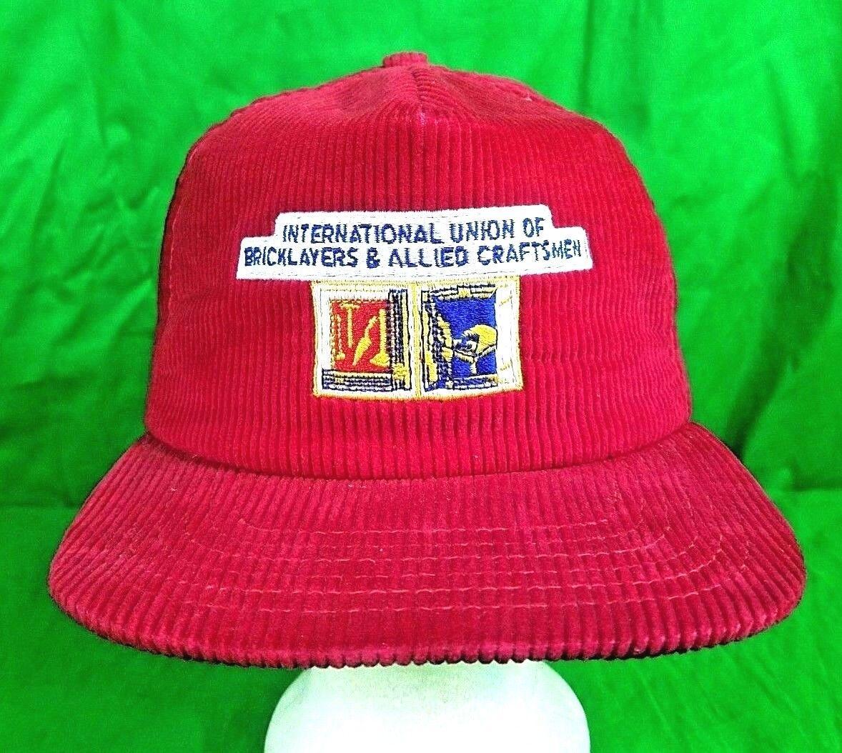 Vtg USA Made Bricklayer Hat Courdoroy Snapback Blo
