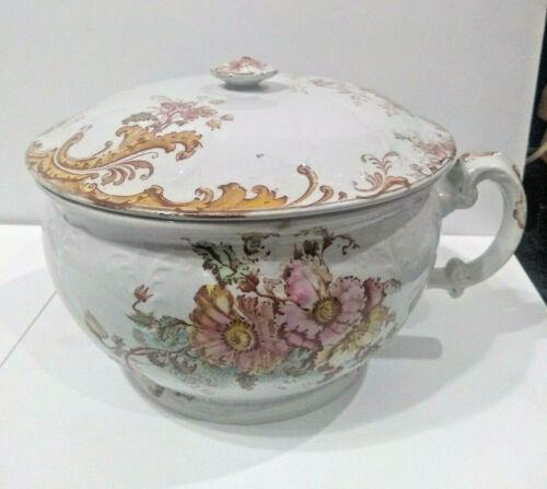 Antique Porcelain Chamber Pot Floral Flower Raised Pattern Gold Trim Victorian