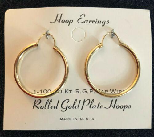 """VTG Gold Filled Hoop Earrings 10k GF New Old Stock USA 1"""" 1.6g #1164"""