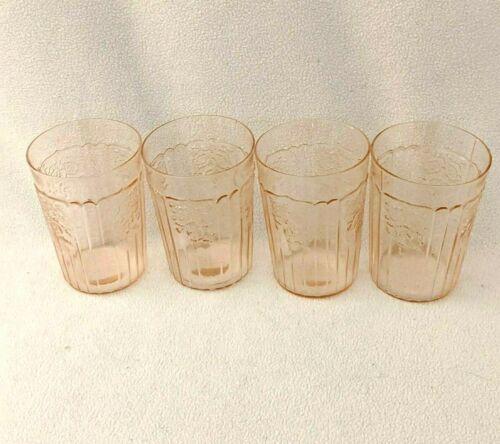 Anchor Hocking Mayfair Open Rose Pink 4 Tumblers 9Oz Depression Glass Vintage