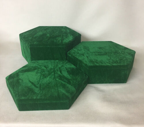 Set of 3 Hexagonal Jewellery Display Risers (Vintage Green) *Made in the UK*