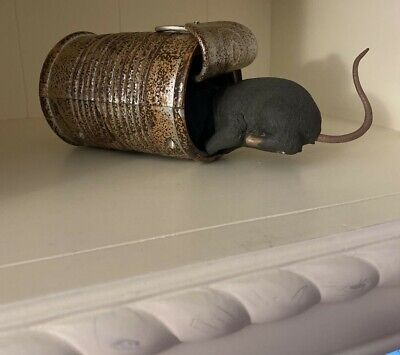 Gemmy Hungry Rat in Can Halloween Talks Squirms moves TESTED tin shakes animated