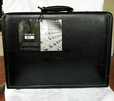 Samsonite Leather Attache Briefcase Expandable Combination Lock Matte Black
