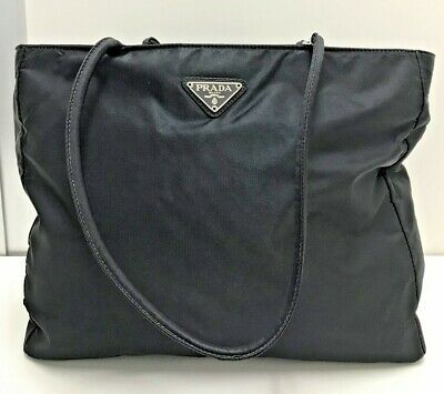 auth vintage Prada black nylon leather tessuto hand tote shoulder bag