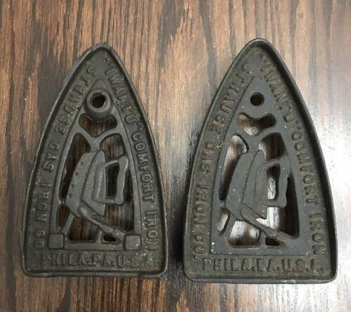 Set of 2 Cast Iron Antique Iron Trivets IWANTU COMFORT IRON STRAUSS GAS IRON CO.