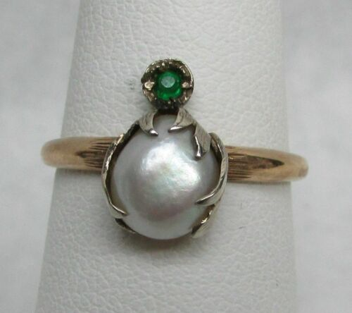 VICTORIAN ERA 14K GOLD NATURAL PEARL & EMERALD RING SIZE 6