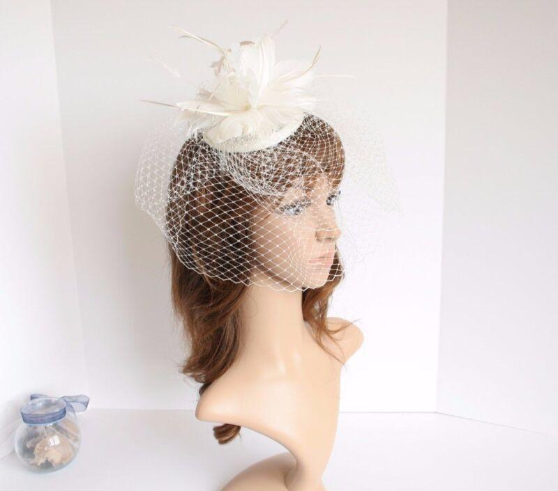 Church Derby Wedding Sinamay w Feathers & Veil Fascinator Ivory 533