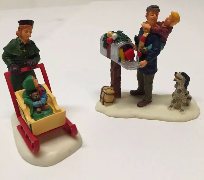 Lemax Christmas Collection Mother W/ Baby And Dad W/ Child And Dog At Mailbox