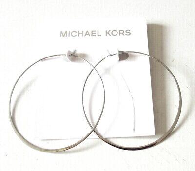 NEW MICHAEL KORS Silver Tone Slender Large Hoop Earrings MKJ1166 MKJ1166040 $55