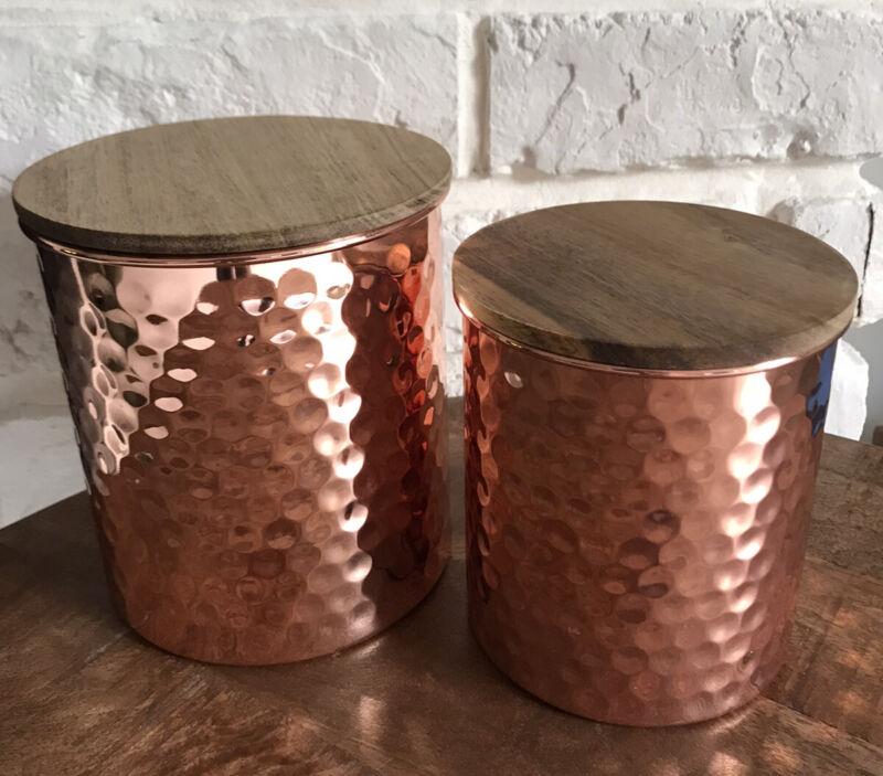 Uncommon James Hammered COPPER CANISTERS Set of 2 NEW in Box! FabFitFun Fall $49