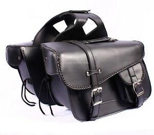 TITAN-Black-Motorcycle-Motorbike-Panniers-Cruiser-Biker-Leather-Saddlebag