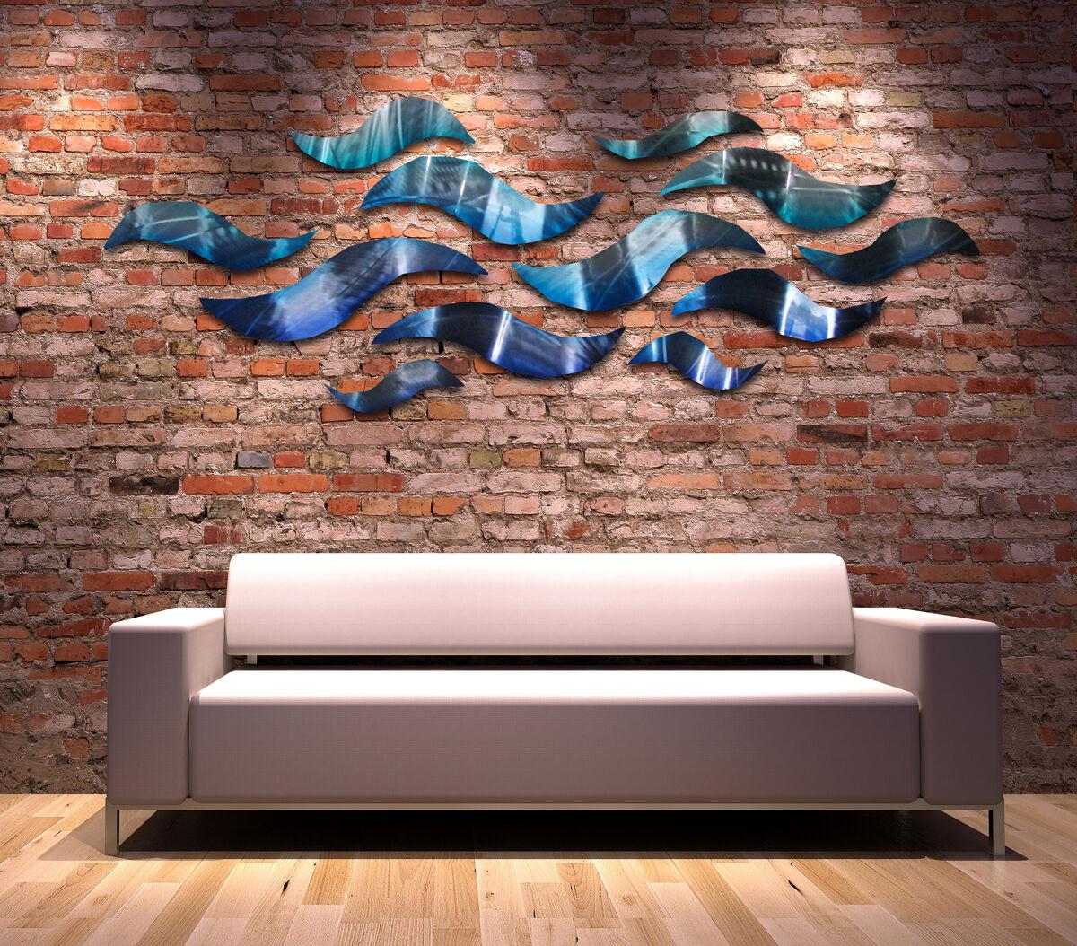 large metal wall sculpture modern abstract art blue wave. Black Bedroom Furniture Sets. Home Design Ideas