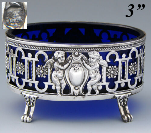 Antique French Sterling Silver & Cobalt Glass Master Open Salt, Winged Cherubs