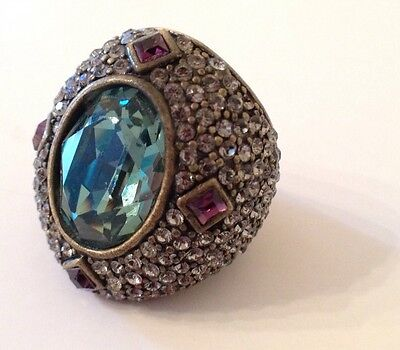 (HEIDI DAUS Signed Dark Peridot Amethyst Swarovski Crystal Huge Ring Size 8.5)