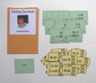 Teacher Made Math Center Resource Game Adding Decimals Hundredths