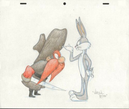 YOSEMITE SAM & BUGS BUNNY COLORED PENCIL DRAWING BY VIRGIL ROSS WITH COA 1953