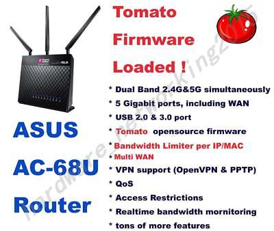 Asus RT-AC68U AC1900 Wireless Router Tomato VPN Firmware. Can setup VPN service Asus Wireless Set Up